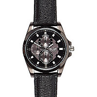 Black three dial textured strap watch