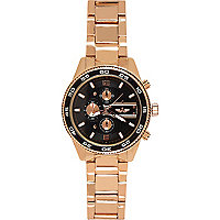 Rose gold tone statement black face watch