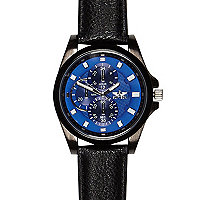 Black blue textured face watch