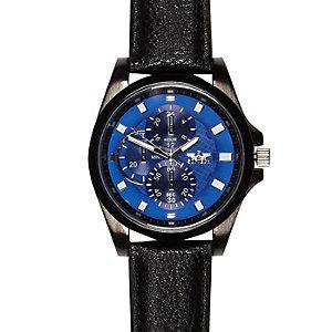Black blue textured face watch