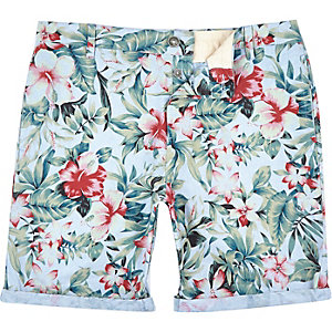 Blue tropical print Oxford knee length shorts