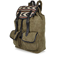 Khaki green Aztec print backpack