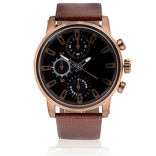 Rose gold tone oversized watch