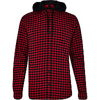 Red and black gingham hooded shirt
