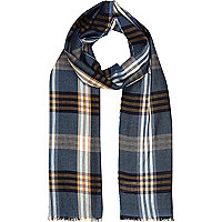 Blue lightweight check scarf