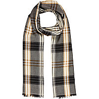 Stone lightweight check scarf