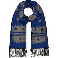 Blue Aztec print tassel hem scarf
