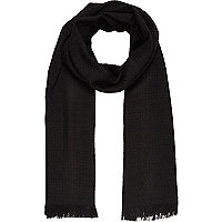 Black textured raw hem scarf