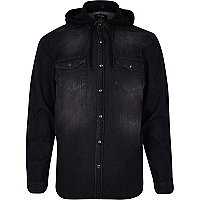 Black wash denim hooded shirt