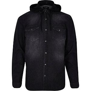 Black wash denim hooded shirt