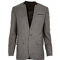 Grey collarless slim suit jacket