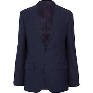 Navy herringbone tailored suit jacket