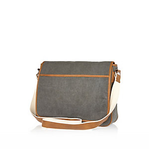 Grey canvas flapover bag