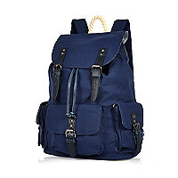 Navy multi pocket backpack