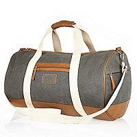 Grey canvas holdall bag