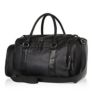 Black perforated sporty holdall bag
