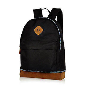 Black contrast print trim backpack