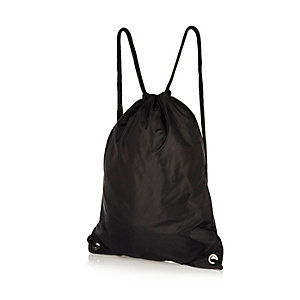 Black nylon drawstring kit bag