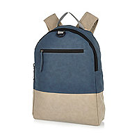 Grey blue colour block rubberised backpack