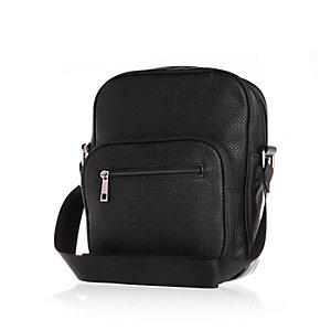 Black perforated cross body bag