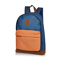 Blue orange pocket backpack