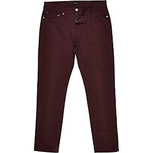 Berry red five pocket chinos