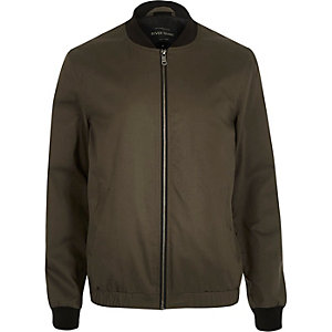 Green casual contrast neck bomber jacket