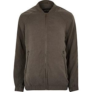 Green longer length bomber jacket