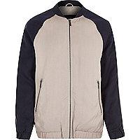 Navy longer length bomber jacket