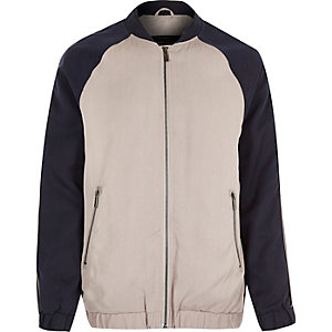 Navy longer length Tencel bomber jacket
