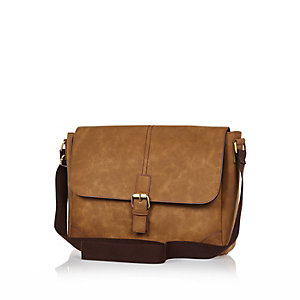 Light brown flapover satchel bag