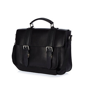Black structured satchel bag