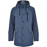 Blue cotton lightweight hooded jacket