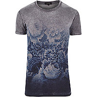 Grey short sleeve fade print t-shirt