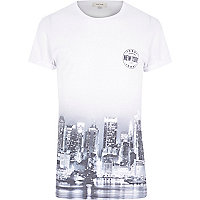White short sleeve New York city fade t-shirt