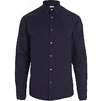 Navy Jack & Jones Premium polka dot shirt