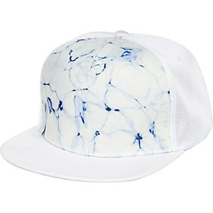 White tie dye flatpeak hat