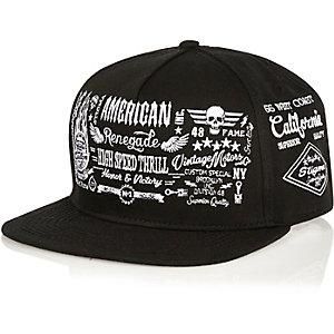 Black embroidered flatpeak hat