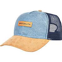 Blue chambray Brooklyn trucker cap
