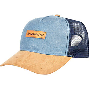 Blue chambray Brooklyn trucker cap