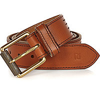 Brown leather stitched belt