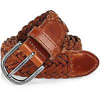Light brown leather plaited belt