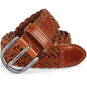 Light brown leather plaited belt