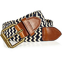 Ecru and navy woven belt
