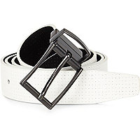 White reversible perforated belt