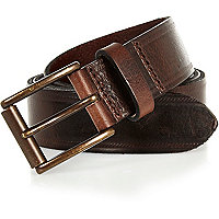 Dark brown leather embossed belt