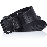 Black leather textured belt