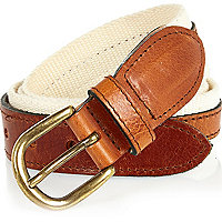 Ecru leather and canvas belt