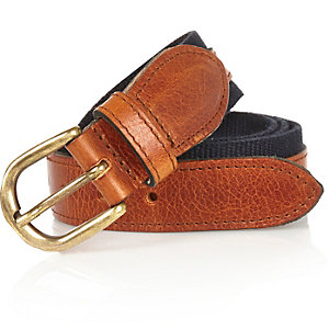 Navy leather and canvas belt