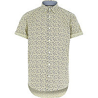 Yellow floral short sleeve shirt
